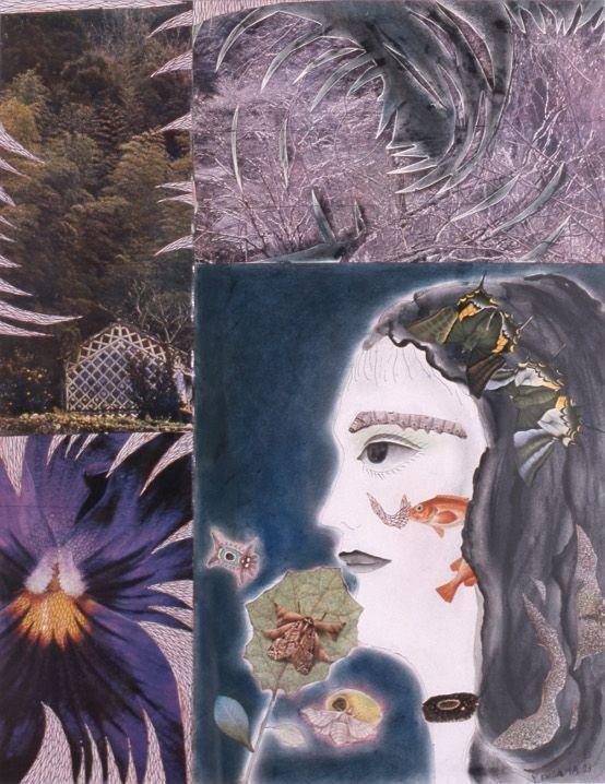 Yayoi Kusama, Flowers and Self-Portrait, 1973, Tinte, Aquarell, Collage auf Papier, 53 x 42 cm, Ota Fine Arts, Tokyo.