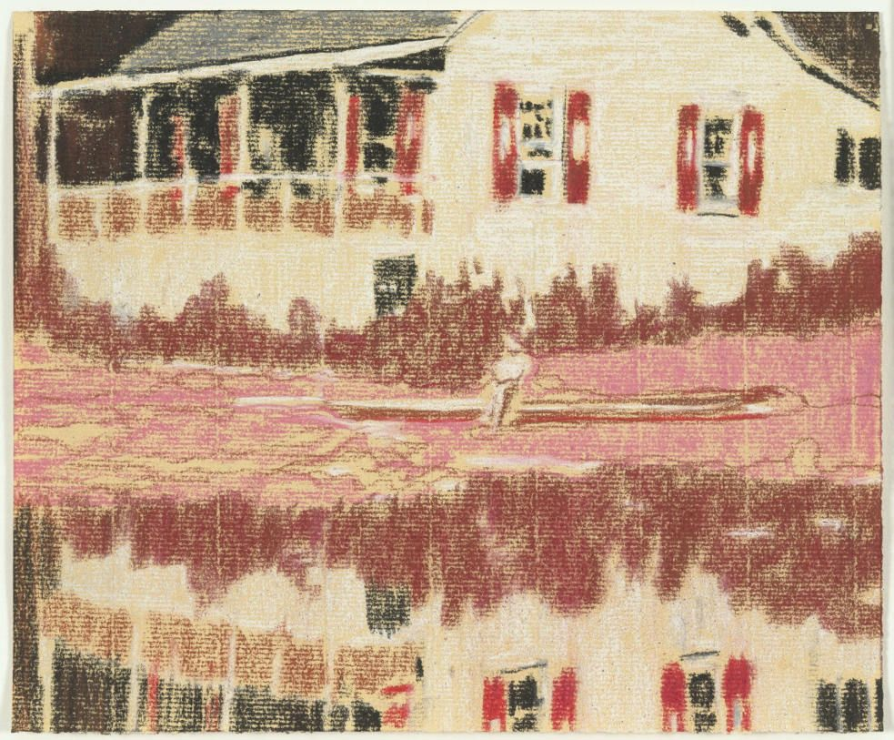Peter Doig, Camp Forestia, 1996, Pastell auf Papier / pastel on paper, 20 x 24.1 cm (The Museum of Modern Art).