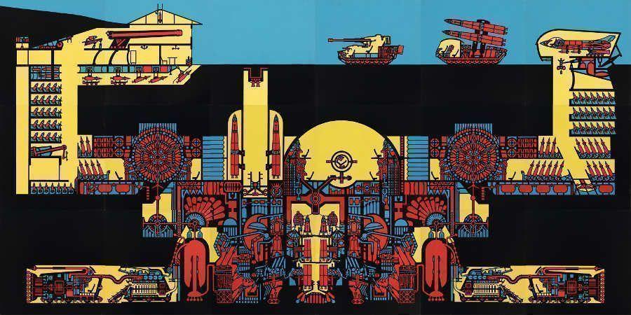 Zelko Wiener, o.T. (Diplom), 1978–1980, 18-teiliges Montagebild, Acryllack auf Duplex-Holzfaserplatte, 507 x 235,5cm © MUSA.