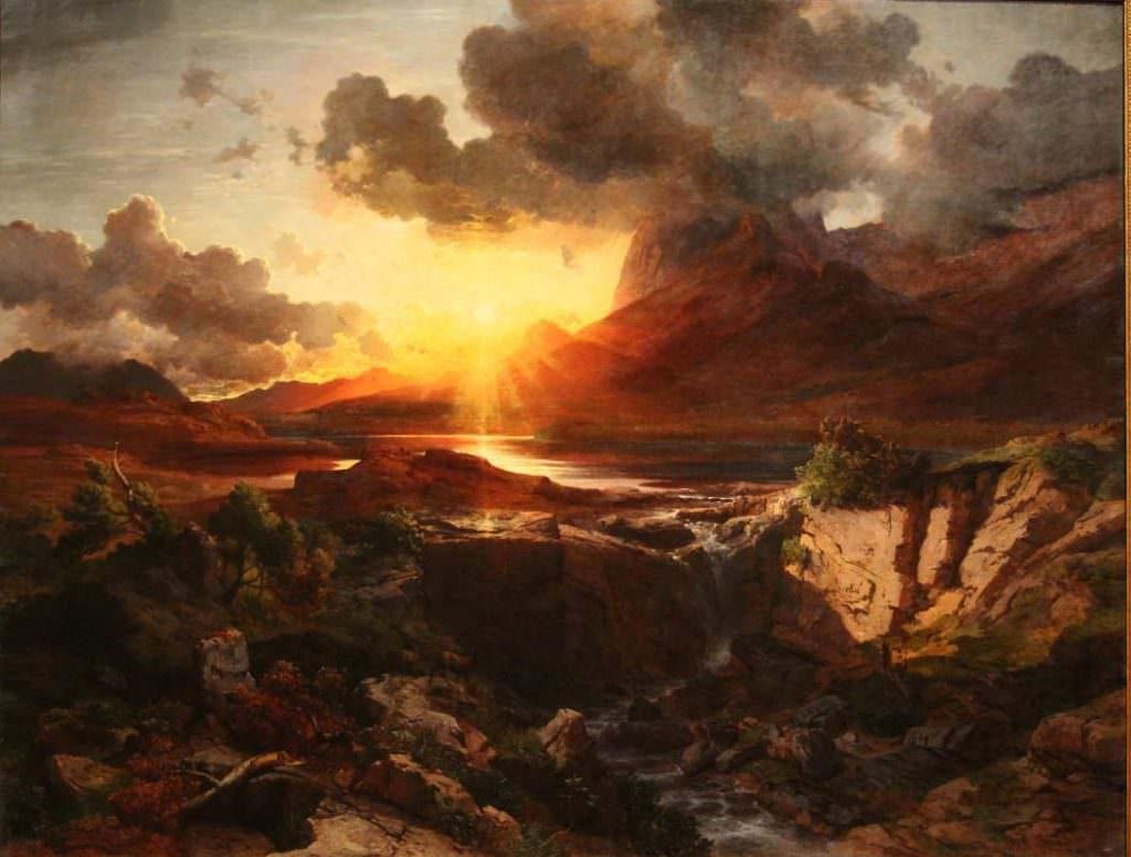 Albert Zimmermann, Sonnenuntergang am Hintersee in Berchtesgaden, 1858, Öl auf Leinwand, 211 × 268 cm, Bez. u. r.: Albert Zimmermann (Belvedere, Wien, Inv.-Nr. 13)