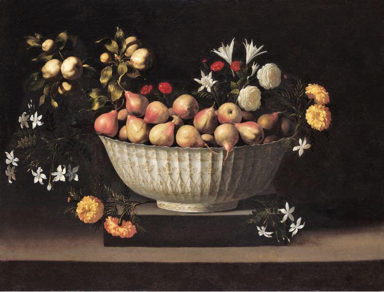 Juan de Zurbarán, Blumen und Früchte in einer chinesischen Schüssel, um 1645, Öl auf Leinwand, 82,6 x 108,6 cm (Chicago (IL), The Art Institute of Chicago, Wirt D. Walker Fund).