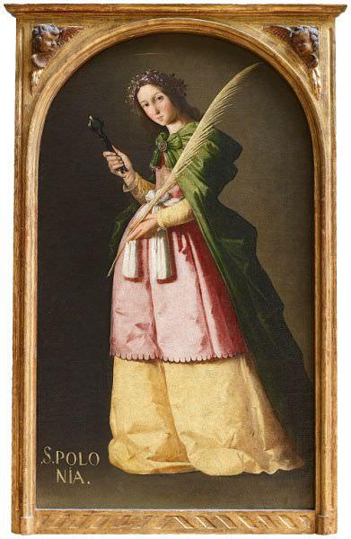 Francisco de Zurbarán, Heilige Apollonia, um 1636-1640, Öl auf Leinwand, 115 x 67 cm (Paris, Musée du Louvre).