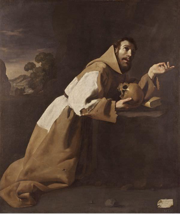 Francisco de Zurbarán, Hl. Franziskus in Meditation, 1639, Öl auf Leinwand, 162 x 137 cm (London, The National Gallery, Legat con Major Charles Edmund Wedgwood 1946).